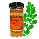 MORINGA ENERGY Turmeric 5 Spice Shaker with Moringa Leaf, Pink Sea Salt, Black Pepper and Garlic Powder in 4oz shaker. Moringa 5 Spice Seasoning for delicious healthy flavor.