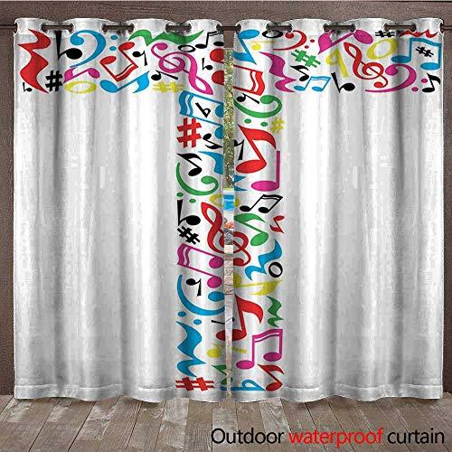 BlountDecor Letter T Drape for Pergola Curtain Uppercase T Letter Colorful Sheet Music Elements Font Alphabet Design Art StyleW120 x L96 Multicolor