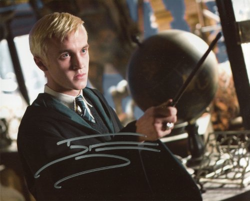 Tom Felton Signed / Autographed Harry Potter 8x10 Glossy Photo Portraying Draco Malfoy from The Half Blood Prince. Includes Fanexpo Fanexpo Certificate of Authenticity and Proof. Entertainment Autograph Original. from Star League Sports