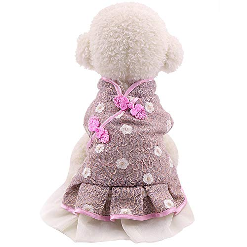 Pet Dog Warm Winter Cotton Clothes Lace skirt Two-Legged Chinese Cheongsam Style Dog Apparel Dog Jacket Small Medium Dogs Pet Clothes For Dog Cat Sweatshirt Sweater Dog Outfits (Pink, XS)