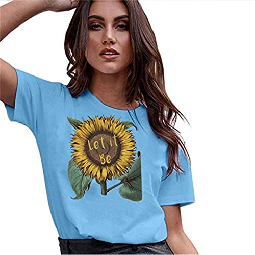 〓COOlCCI〓Sunflower Printed T Shirts Womens Casual Short Sleeve Tees Summer Loose Blouse Tops Blue Carters Baby Girls Sunflower