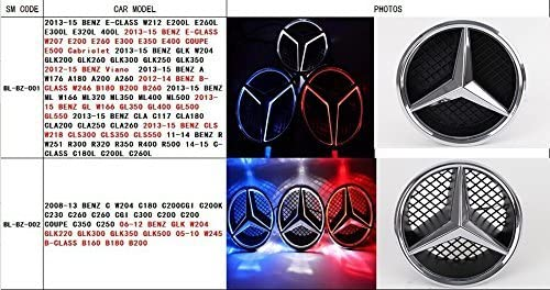 White, transparent grid X204 GLK-Class Bearfire White LED Emblem for Mercedes Benz W204 C-Class Illuminated Logo Hood Star DRL Front Car Grille Badge