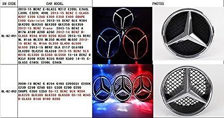 white, not transparent grid Bearfire LED Emblem Logo Grid LED Badge Front Light For Mercedes Benz A//B//C//CLS//E//GLK//GL//R Series