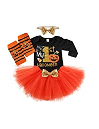 BAOBAOLAI My 1st Halloween Newborn Baby Girl Outfits Long Sleeve Romper Pumpkin Tutu Dress