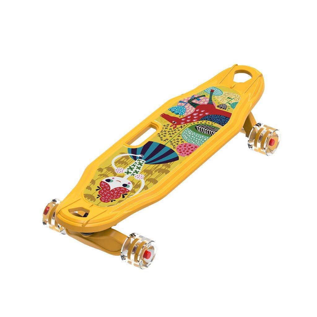PUフラッシュホイールスケートボードデッキ、大人キッズスケートボード、デッキとの完全なボード、初心者や専門家のため25.4x9.45インチロード150キロ 黄