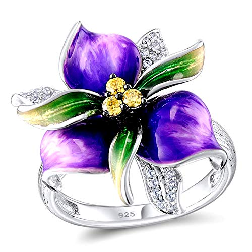 Uloveido Girls Purple Flower Jewelry Rings for Women Mom White Gold Plated Fashion Violet Flower Cocktail Rings for Women Birthday Size 6 - Crystal Ring Bloom Cocktail