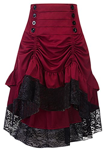 Alivila.Y Fashion Womens Steampunk Skirt Victorian High Low Dress 31706-Red-XL]()