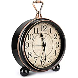 INTSUN Classic Retro Alarm Clock, Bed Alarm Clock Battery Operated Desk Clock Metal Silent Alarm Clock for Bedrooms, Non Ticking (Black, Battery Excluded)