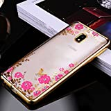 Back Cover Case For Samsung Galaxy J7 Pro Secret Garden Flower Diamond Soft TPU Case For Samsung Galaxy J7 Pro- Electroplated Slim Fit Lightweight Ultra Thin Metallic luster TPU Back Cover-Samsung J7 Pro (2017 launch) Cover (Gold)