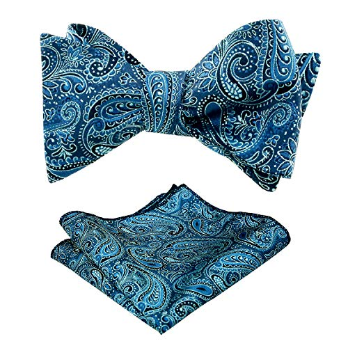 d4909b4c7a0c Alizeal Mens Solid Color Wedding Paisley Self-tied Bow Tie and Handkerchief  Set, Teal