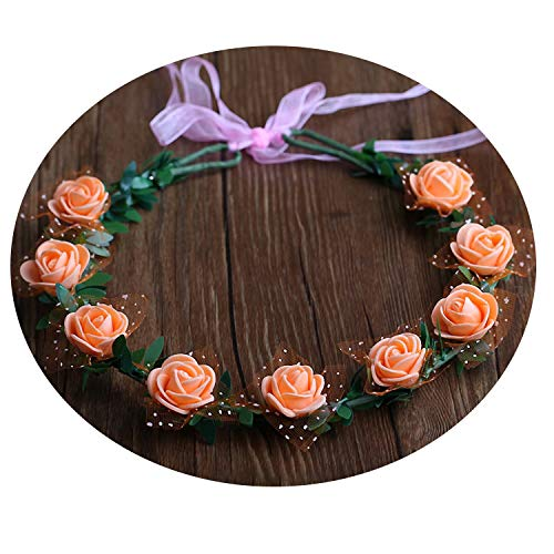 - Miao express Fashion Women Girl Crown Hair Band Wedding Bride Wreath Rose Flowers Princess Garland Hair Accessories Floral Headband,33