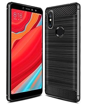 iBetter Xiaomi Redmi S2 Funda, Xiaomi Redmi S2 Funda de Silicona para teléfono Inteligente Xiaomi Redmi S2 con Fibra de Carbono Suave. Negro