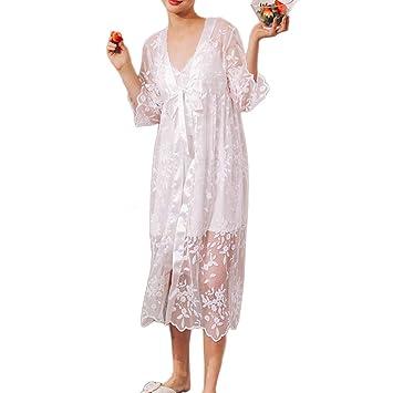 LIUYL Sexy camisón de Las Mujeres de Encaje Transparente Kimono Bata con Cuello en V Ropa