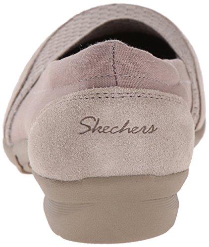 Skechers Carrera-entrevista plana Dark Taupe Stretch Gore/Canvas/Suede