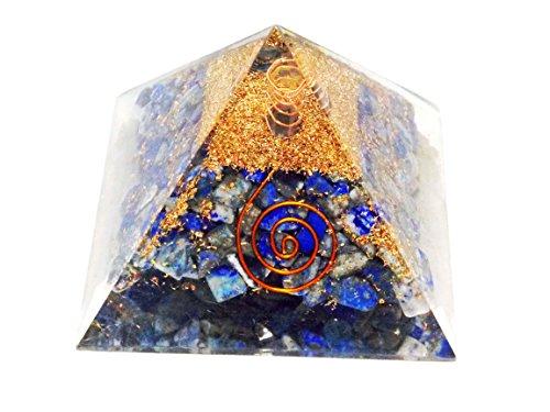 Orgone Pyramid (Lapis Lazuli with Copper-coiled Quartz Point)