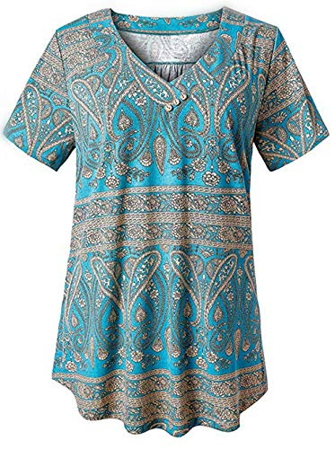GHrcvdhw Women's V-Neck Button Retro Print Short-Sleeved Casual Loose Summer Wind Top T-Shirt Blue]()