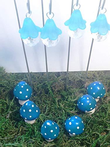 Fairy garden 10 piece set. Blue hanging fairy lights and blue miniature mushrooms. Fairy garden accessories. ()