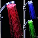 Bulfyss 7 Color Changing LED Shower Head Automatic ABS Plastic Colors Changing (Silver, 10 cm x 7 cm x 23 cm)