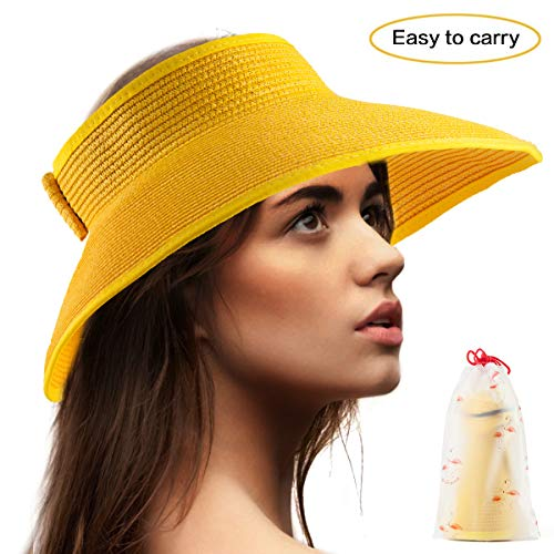 Wide Brimmed Hat Women Visors - Yellow Hat for Women Straw Beach Hat Head Visor