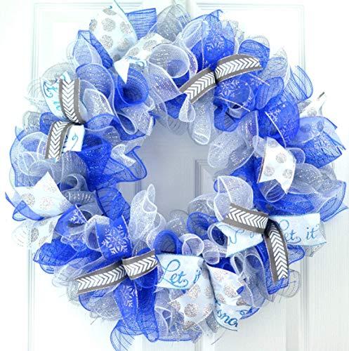 Winter Wreath | Christmas Winter Mesh Door Wreath Royal Blue White Silver