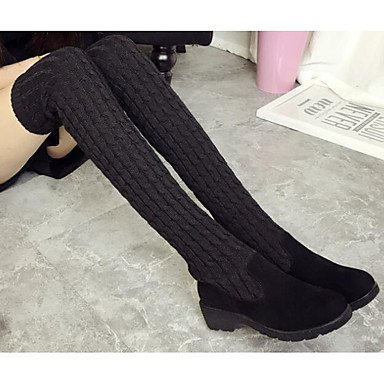 Boots Fall Brown The Shoes Over EU39 UK6 Boots For Spring Casual Black Knee RTRY 5 Knit 5 CN40 Leather US8 Comfort Nubuck Women'S 7AqYFA