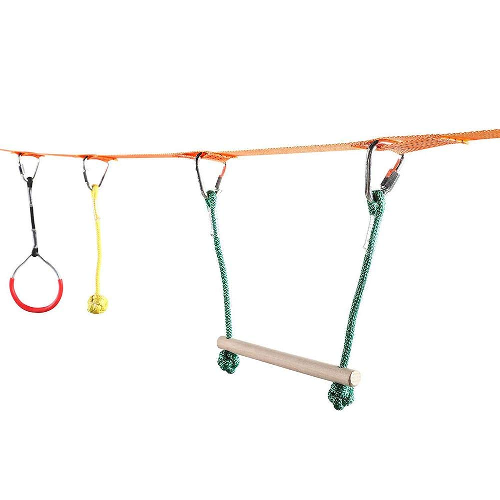 Jungels Portable Kids Obstacles Sling Ring - Monkey Pole Trapeze Bar Kit - 40 Foot 250lb Capacity Trapeze Swing- Outdoor Physical Training Gymnastics Garden Toy by Jungels (Image #8)