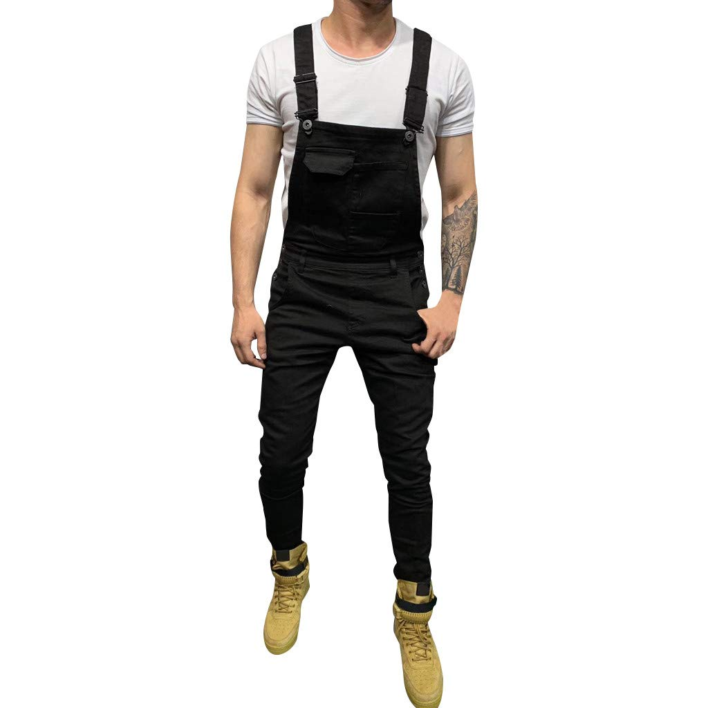 FEDULK Mens Jeans Pleated Straight Overall Jumpsuit Streetwear Trousers Overall Suspender Pocket Pants(Black, X-Large) by FEDULK