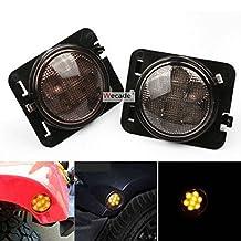 Wecade LED Side Maker Lights Smoke Lens for 2007 - 2016 Jeep Wrangler Amber Front Fender Flares Parking Turn Indicator Lamp