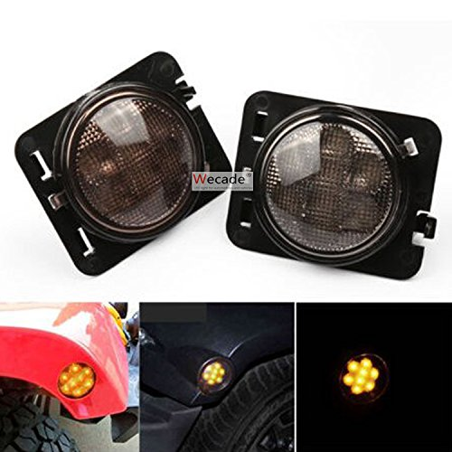 Wecade LED Side Maker Lights Smoke Lens for 2007 - 2016 Jeep Wrangler Amber Front Fender Flares Parking Turn Indicator Lamp (2007 Front Fender)