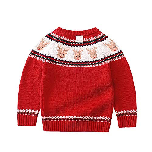 - Toddler Girls Christmas Sweater Reindeer Snowflake Xmas Gifts Winter Knit Sweaters Tops (Reindeer red, 3T)