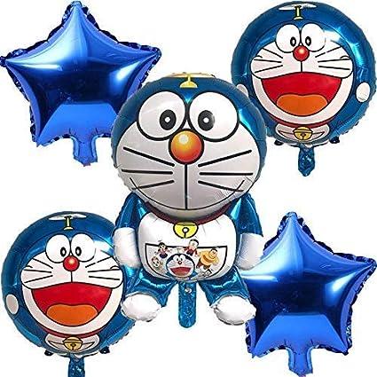Grandshop 50852 Doraemon Theme Birthday / Baby Shower / Baby Boy Birthday  Party Decoration Balloons Set of 5