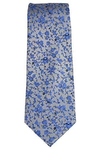 Haines & Bonner of London Hand Made Necktie 100% Silk Floral Gray-Blue