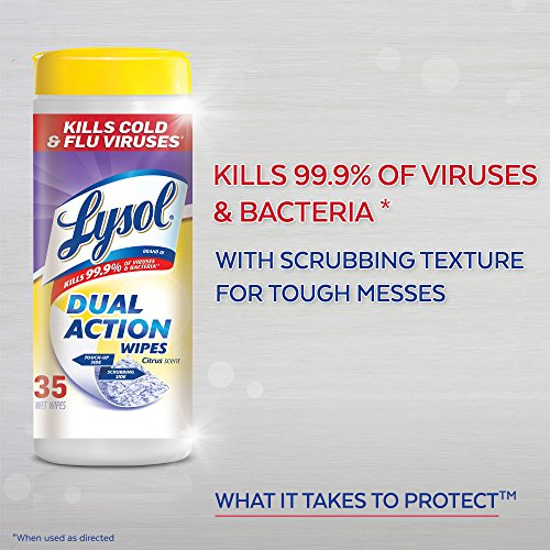 Lysol - Disinfecting Wipes - Dual Action - 2x75ct - Scrubbing Texture - Disinfectant - Cleaning - Sanitizing - 2