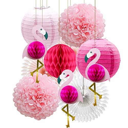 (Tropical Pink Flamingo Party Honeycomb Decoration, Pom Poms Paper Flowers Tissue Paper Fan Paper Lanterns for Hawaiian Summer Beach Luau Party)