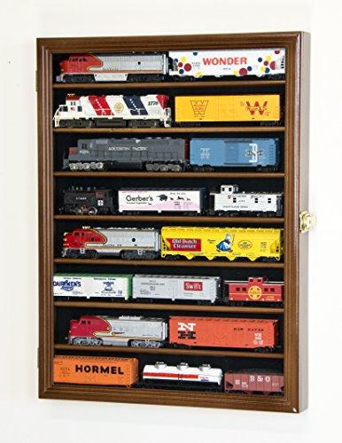 (sfDisplay.com,LLC. Small HO Scale Train Model Trains Locomotive Engine Display Case Cabinet Wall Rack w/ 98% UV Lockable (Walnut Wood Finish))