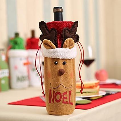 Gulin Conjunto de Botellas de Vino de Navidad, Santa Claus muñeco de Nieve Elk Botella