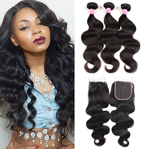Mink Hair Peruvian Body Wave Bundles with Closure (12 14 16+10) 7A Unprocessed Virgin Body Wave Human Hair Extensions with 4X4 Free Part Lace Closure Natural Color