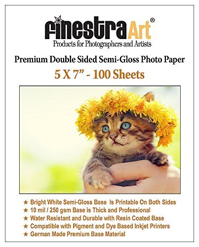 5x7 100 Sheets Premium Double Sided Semi Gloss Photo Paper 250GSM