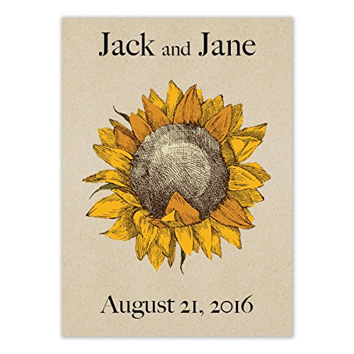 Set of 25 Personalized Seed Packet Favors Dwarf Sunspot Sunflowers (SN001) Open Pollinated Seeds by Seed Needs by Seed Needs (Image #1)