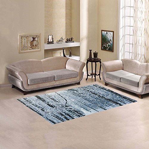 Home Decor Winter Snow Forest Tree Area Rugs