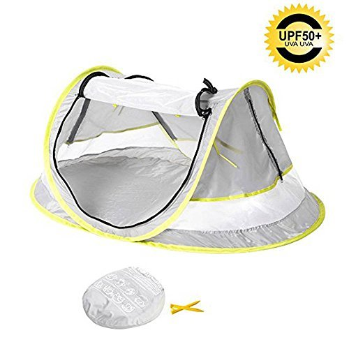 (Baby Travel Tent,FOME Ultralight Waterproof Portable Baby Travel Bed UV 50+ Sun Shelters Tent Baby Beach Tent Pop Up Tent Play Tent with 2 Pegs A Carry Bag for Picnic Beach Garden Home)