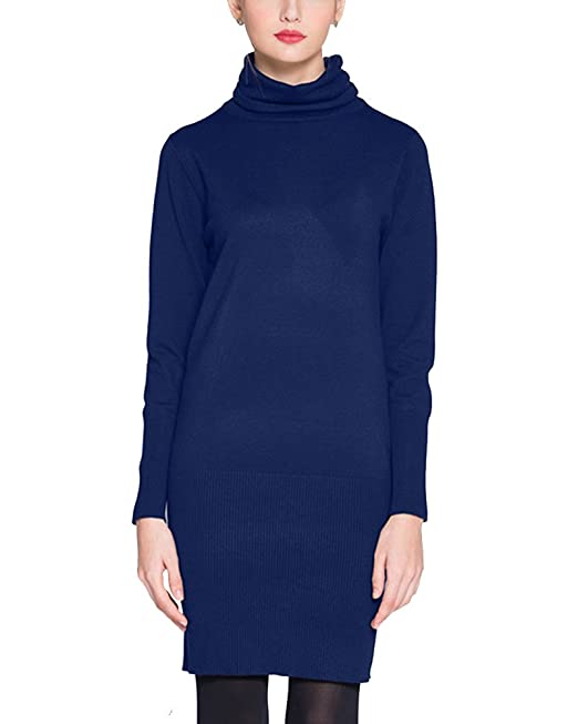 edbd03b14 Mini Vestido de Punto Mujer Jersey Manga Larga Señoras Suéter Vestir Azul  Zafiro L  Amazon.es  Ropa y accesorios