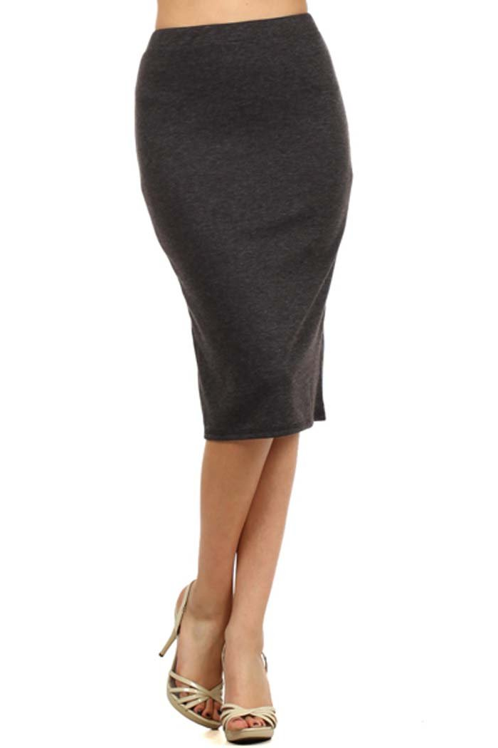 Private Label Women's Solid Pencil Skirt. Made In USA (L, Charcoal)