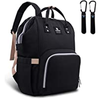 Hafmall Nappy Changing Bag, Waterproof Multi-Functional Travel Diaper Bag with Stroller Hook,Stylish and Durable (Black)