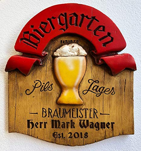 (Piazza Pisano Art by Al Pisano German Biergarten Personalized Beer Sign)