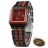 BEWELL W130A Wooden Watch Quartz Analog Movement Date Wristwatch for Women