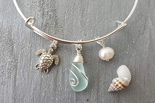 Handmade in Hawaii,wire wrapped seafoam sea glass bracelet, FREE gift wrap, FREE gift message, FREE shipping