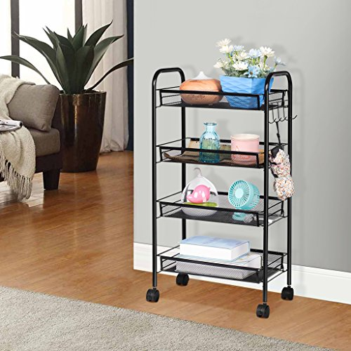 LANGRIA 4-Tier Bathroom Shelving Kitchen Island Utility Cart Facial Salon Spa Utility Organization Island Cart Easy Moving Flexible Wheels, 55 lbs Weight Capacity, Black by LANGRIA (Image #6)
