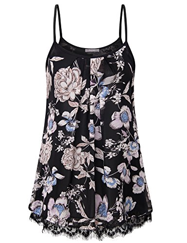 Furnex Summer Tank Top, Women's Long Floral Camisole for Legging Sleeveless Pleated Front Chiffon Layered Tunic Dress with Eyelash Lace (Black White,XX-Large) ()