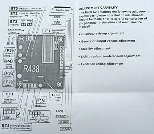 new automatic voltage regulator avr r438 for leroy somer amazon com rh amazon com 2 Wire Alternator Wiring Diagram Leroy Somer AVR